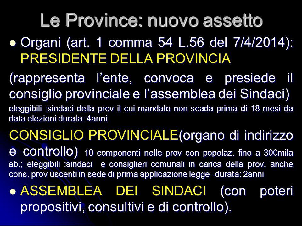 Le Province: nuovo assetto Organi (art. 1 comma 54 L.56 del 7/4/2014): PRESIDENTE DELLA PROVINCIA Organi (art. 1 comma 54 L.56 del 7/4/2014): PRESIDEN