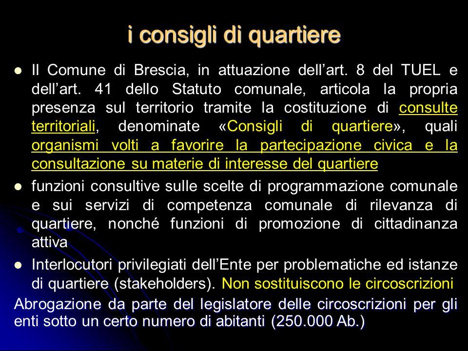 i consigli di quartiere Il Comune di Brescia, in attuazione dell'art. 8 del TUEL e dell'art. 41 dello Statuto comunale, articola la propria presenza s