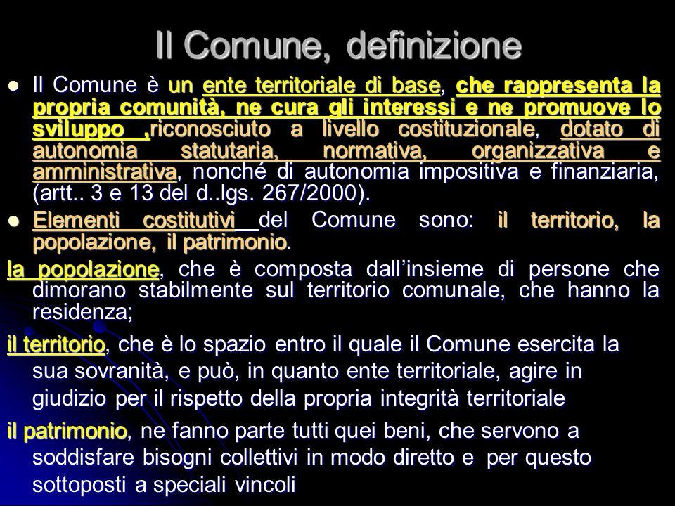 Il Comune, definizione Il Comune è un ente territoriale di base, che rappresenta la propria comunità, ne cura gli interessi e ne promuove lo sviluppo,