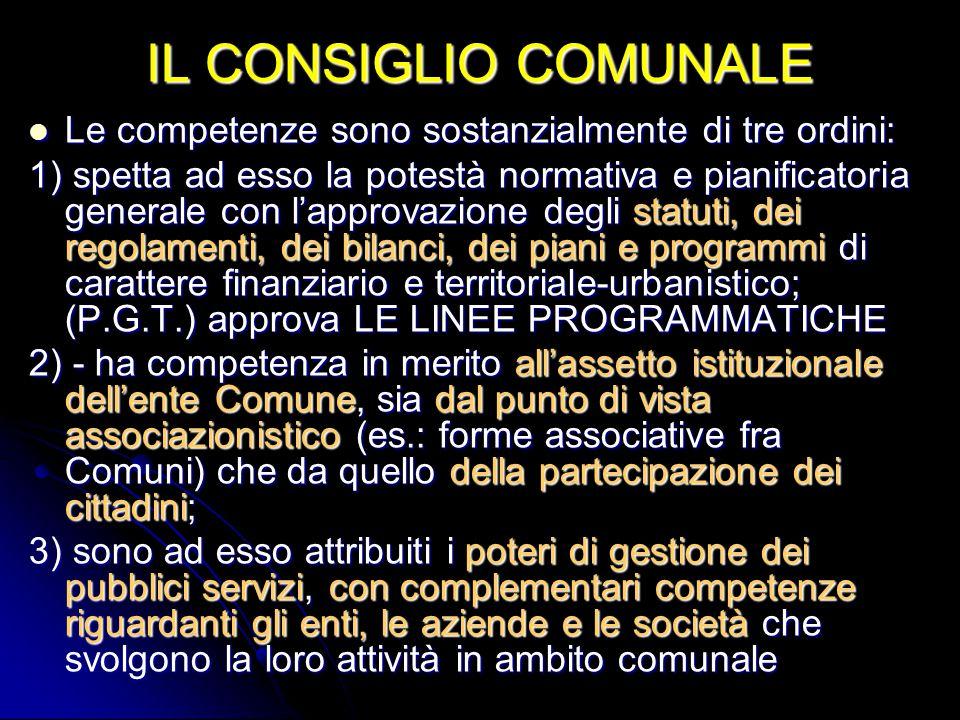 IL CONSIGLIO COMUNALE Le competenze sono sostanzialmente di tre ordini: Le competenze sono sostanzialmente di tre ordini: 1) spetta ad esso la potestà
