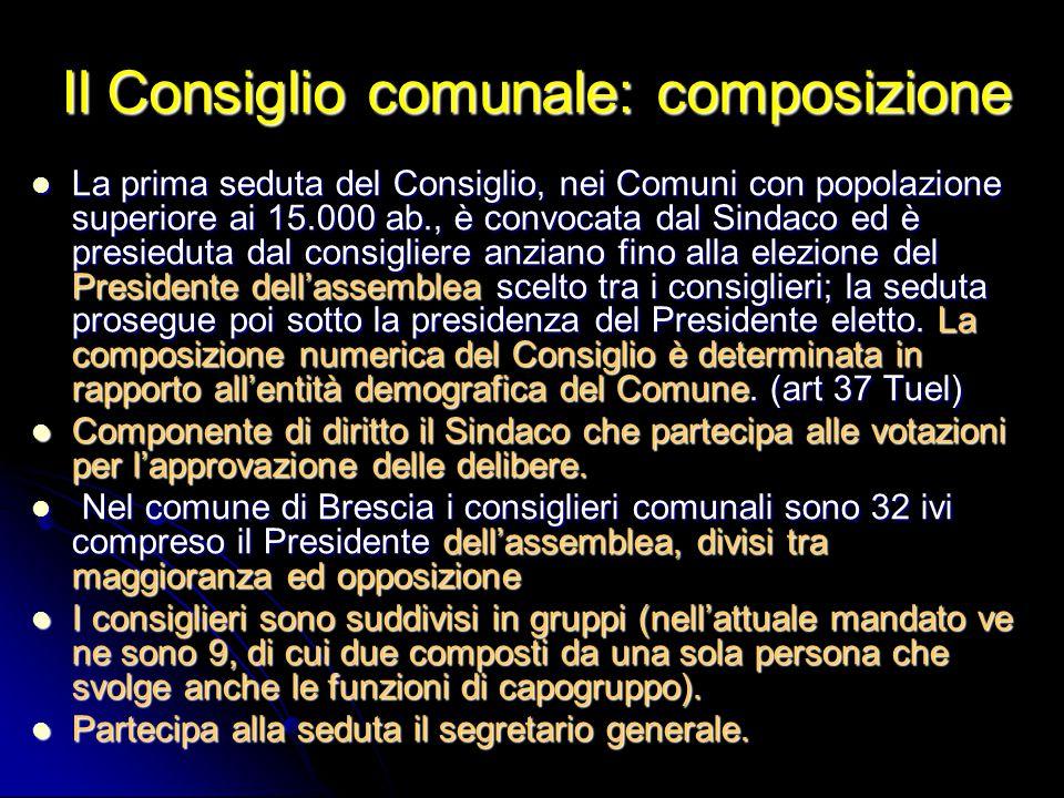 Il Consiglio comunale: composizione La prima seduta del Consiglio, nei Comuni con popolazione superiore ai 15.000 ab., è convocata dal Sindaco ed è pr