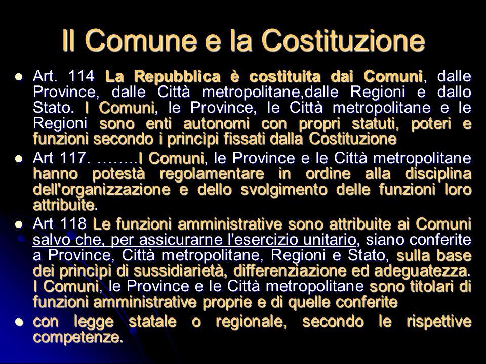 Il Comune e la Costituzione Art. 114 La Repubblica è costituita dai Comuni, dalle Province, dalle Città metropolitane,dalle Regioni e dallo Stato. I C