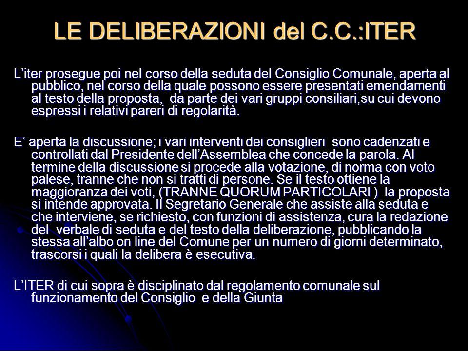 LE DELIBERAZIONI del C.C.:ITER L'iter prosegue poi nel corso della seduta del Consiglio Comunale, aperta al pubblico, nel corso della quale possono es