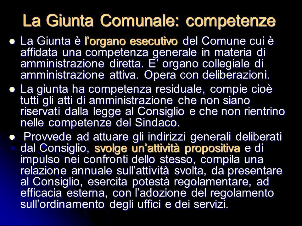 La Giunta Comunale: competenze La Giunta è l'organo esecutivo del Comune cui è affidata una competenza generale in materia di amministrazione diretta.