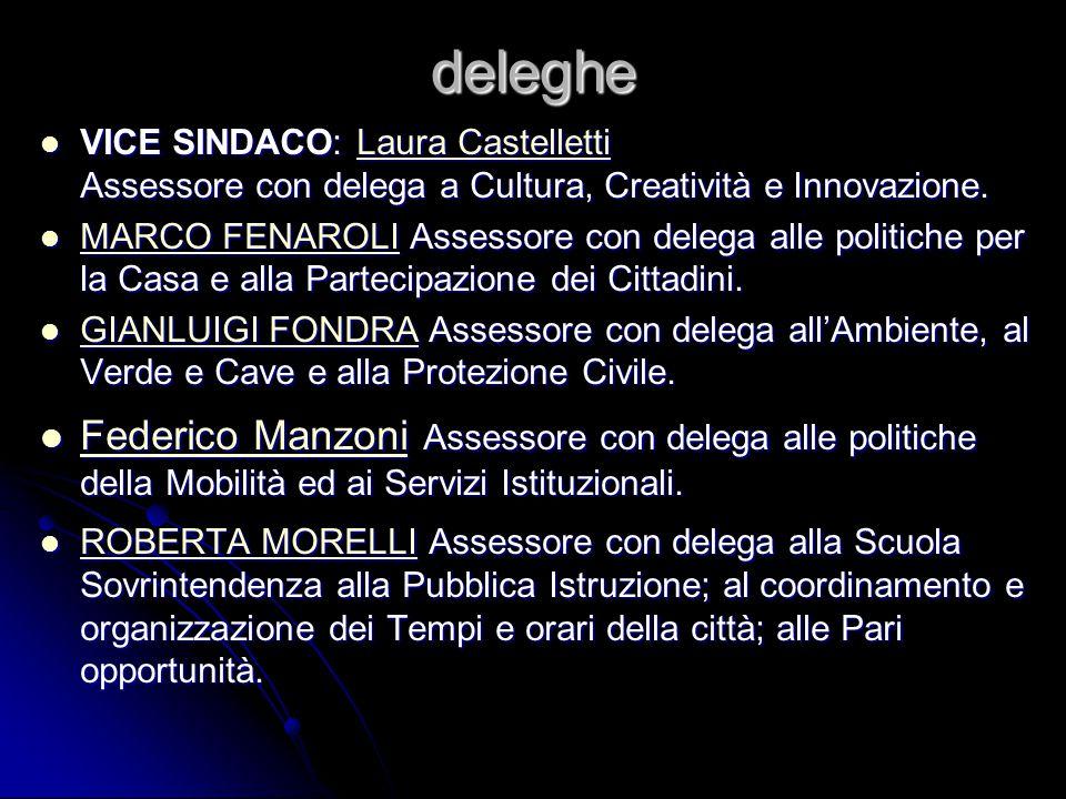 deleghe VICE SINDACO: Laura Castelletti Assessore con delega a Cultura, Creatività e Innovazione. VICE SINDACO: Laura Castelletti Assessore con delega