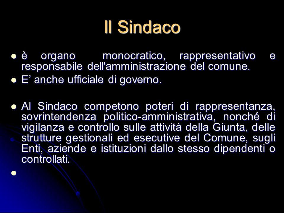 Il Sindaco è organo monocratico, rappresentativo e responsabile dell'amministrazione del comune. è organo monocratico, rappresentativo e responsabile