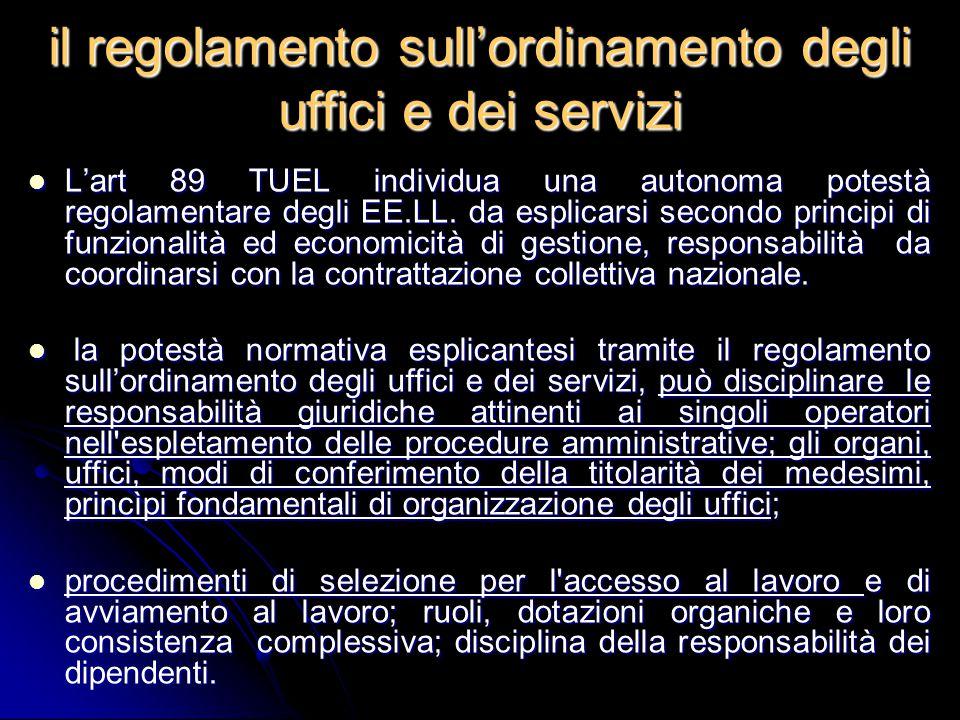 il regolamento sull'ordinamento degli uffici e dei servizi L'art 89 TUEL individua una autonoma potestà regolamentare degli EE.LL. da esplicarsi secon
