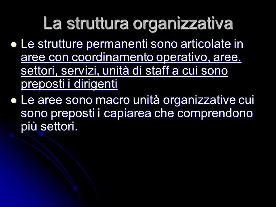 La struttura organizzativa Le strutture permanenti sono articolate in aree con coordinamento operativo, aree, settori, servizi, unità di staff a cui s