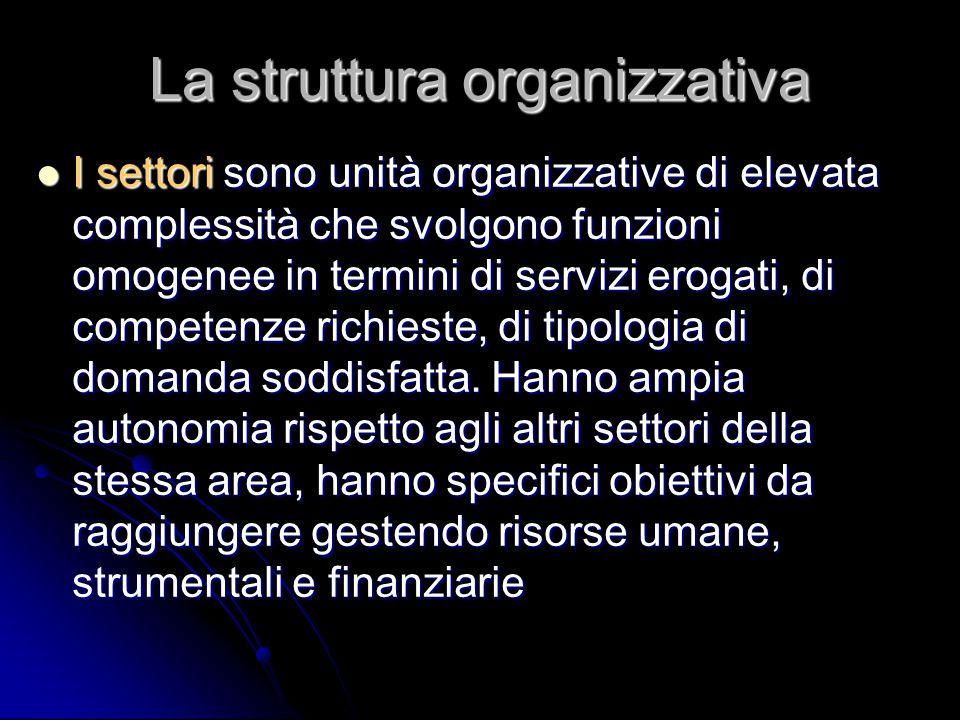 La struttura organizzativa I settori sono unità organizzative di elevata complessità che svolgono funzioni omogenee in termini di servizi erogati, di