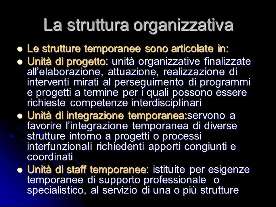 La struttura organizzativa Le strutture temporanee sono articolate in: Le strutture temporanee sono articolate in: Unità di progetto: unità organizzat