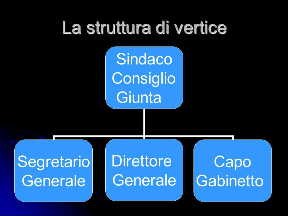La struttura di vertice Sindaco Consiglio Giunta Segretario Generale Direttore Generale Capo Gabinetto