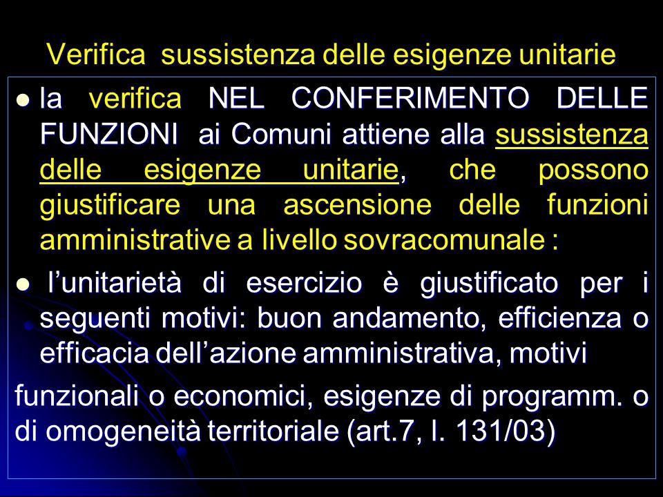 Verifica sussistenza delle esigenze unitarie la verifica NEL CONFERIMENTO DELLE FUNZIONI ai Comuni attiene alla sussistenza delle esigenze unitarie, c