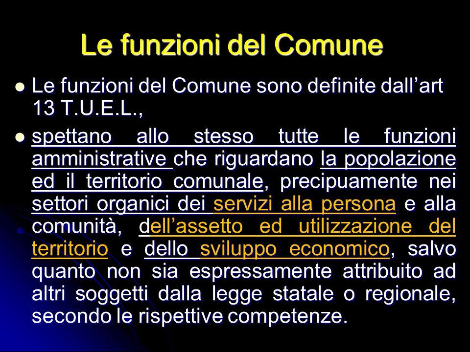 Le funzioni del Comune Le funzioni del Comune Le funzioni del Comune sono definite dall'art 13 T.U.E.L., Le funzioni del Comune sono definite dall'art
