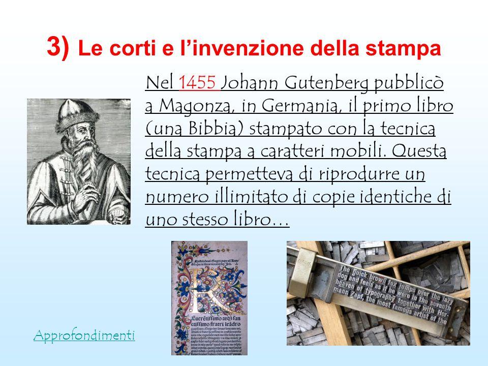3) Le corti e l'invenzione della stampa Approfondimenti Nel 1455 Johann Gutenberg pubblicò a Magonza, in Germania, il primo libro (una Bibbia) stampat