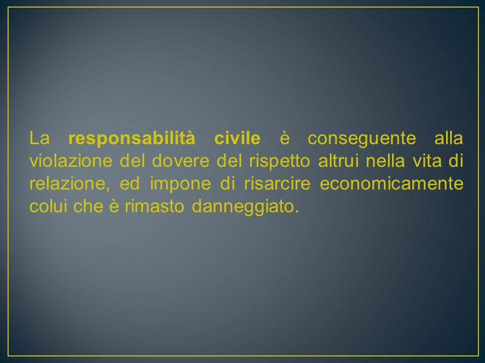 La responsabilità civile è conseguente alla violazione del dovere del rispetto altrui nella vita di relazione, ed impone di risarcire economicamente colui che è rimasto danneggiato.