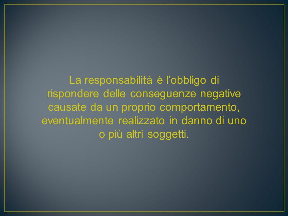 La responsabilità è l'obbligo di rispondere delle conseguenze negative causate da un proprio comportamento, eventualmente realizzato in danno di uno o più altri soggetti.
