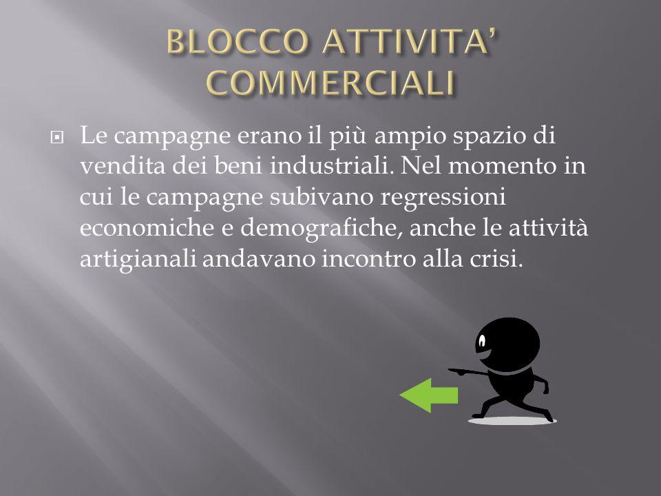  Le campagne erano il più ampio spazio di vendita dei beni industriali. Nel momento in cui le campagne subivano regressioni economiche e demografiche