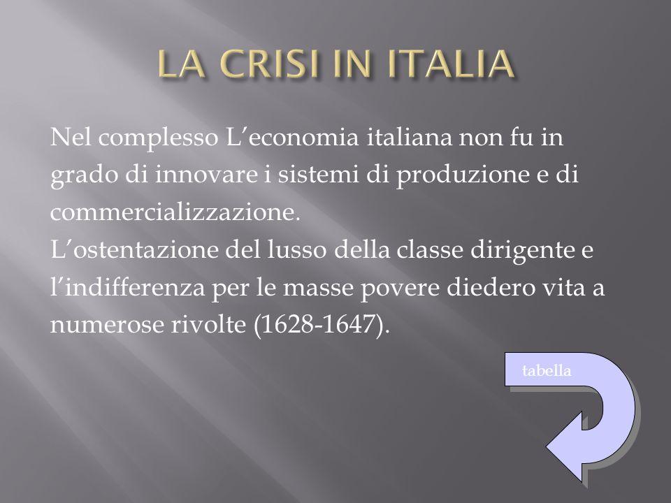 Nel complesso L'economia italiana non fu in grado di innovare i sistemi di produzione e di commercializzazione. L'ostentazione del lusso della classe