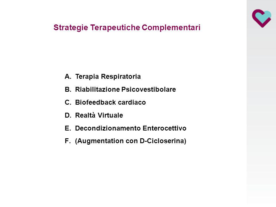Strategie Terapeutiche Complementari A.Terapia Respiratoria B.Riabilitazione Psicovestibolare C.Biofeedback cardiaco D.Realtà Virtuale E.Decondizionam