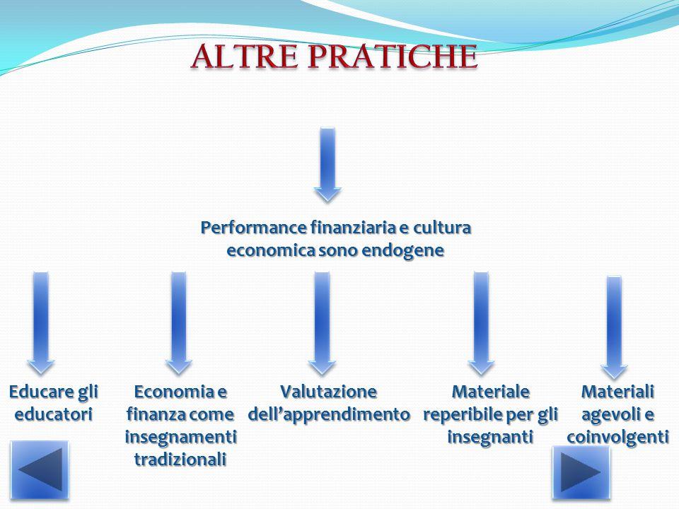 Performance finanziaria e cultura economica sono endogene Educare gli educatori Valutazione dell'apprendimento Materiali agevoli e coinvolgenti Economia e finanza come insegnamenti tradizionali Materiale reperibile per gli insegnanti