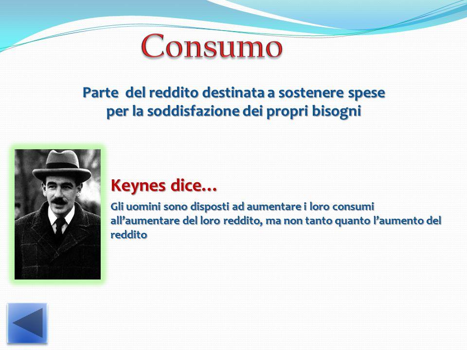 Parte del reddito destinata a sostenere spese per la soddisfazione dei propri bisogni Keynes dice… Gli uomini sono disposti ad aumentare i loro consumi all'aumentare del loro reddito, ma non tanto quanto l'aumento del reddito