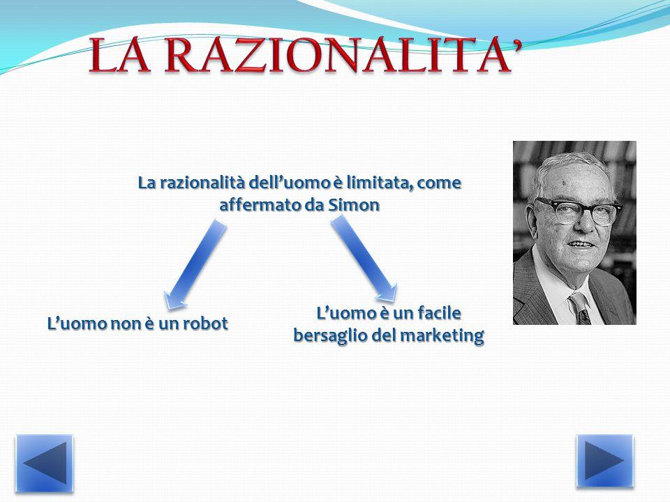 La razionalità dell'uomo è limitata, come affermato da Simon L'uomo non è un robot L'uomo è un facile bersaglio del marketing
