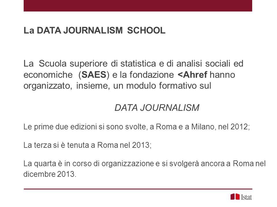 La DATA JOURNALISM SCHOOL La Scuola superiore di statistica e di analisi sociali ed economiche (SAES) e la fondazione <Ahref hanno organizzato, insieme, un modulo formativo sul DATA JOURNALISM Le prime due edizioni si sono svolte, a Roma e a Milano, nel 2012; La terza si è tenuta a Roma nel 2013; La quarta è in corso di organizzazione e si svolgerà ancora a Roma nel dicembre 2013.