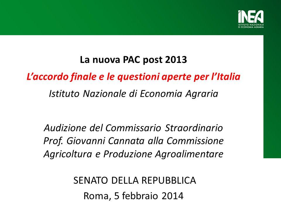La nuova PAC post 2013 L'accordo finale e le questioni aperte per l'Italia Istituto Nazionale di Economia Agraria Audizione del Commissario Straordinario Prof.