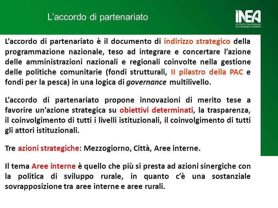L'accordo di partenariato L'accordo di partenariato è il documento di indirizzo strategico della programmazione nazionale, teso ad integrare e concertare l'azione delle amministrazioni nazionali e regionali coinvolte nella gestione delle politiche comunitarie (fondi strutturali, II pilastro della PAC e fondi per la pesca) in una logica di governance multilivello.