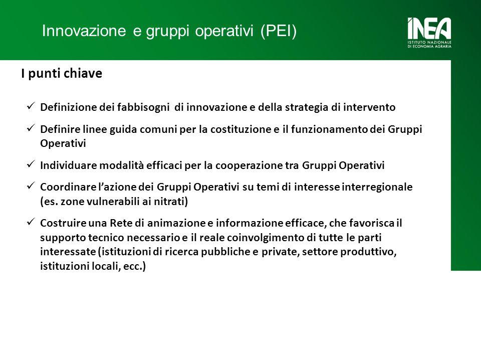 Innovazione e gruppi operativi (PEI) I punti chiave Definizione dei fabbisogni di innovazione e della strategia di intervento Definire linee guida comuni per la costituzione e il funzionamento dei Gruppi Operativi Individuare modalità efficaci per la cooperazione tra Gruppi Operativi Coordinare l'azione dei Gruppi Operativi su temi di interesse interregionale (es.