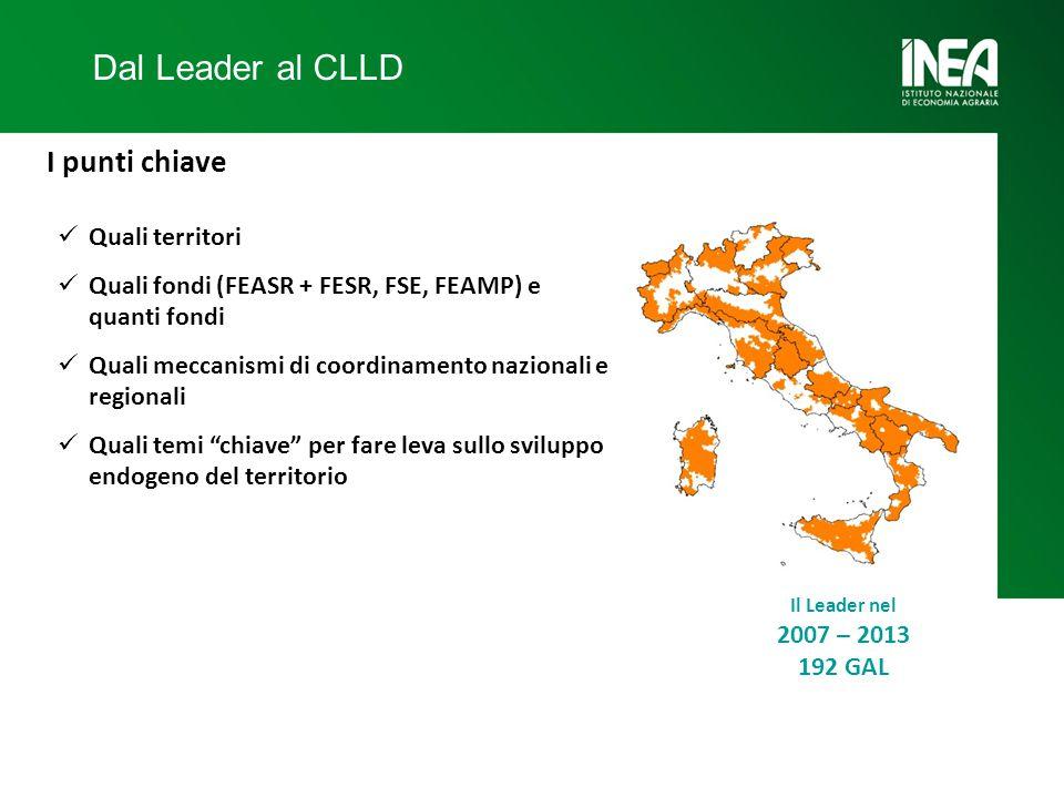 Dal Leader al CLLD I punti chiave Quali territori Quali fondi (FEASR + FESR, FSE, FEAMP) e quanti fondi Quali meccanismi di coordinamento nazionali e regionali Quali temi chiave per fare leva sullo sviluppo endogeno del territorio Il Leader nel 2007 – 2013 192 GAL