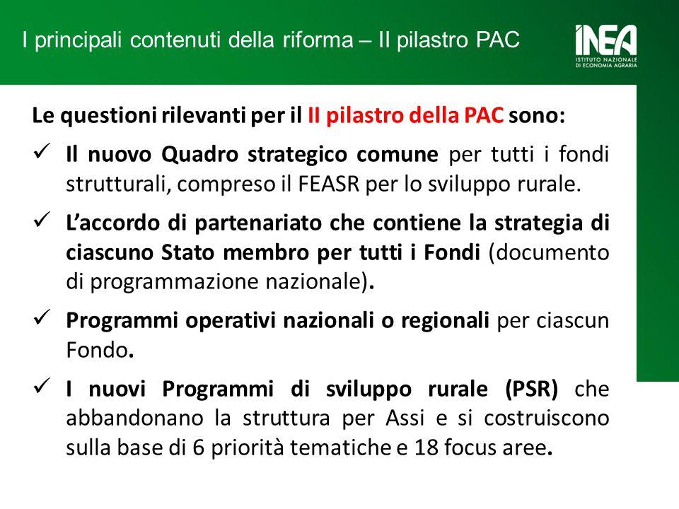 Le questioni rilevanti per il II pilastro della PAC sono: Il nuovo Quadro strategico comune per tutti i fondi strutturali, compreso il FEASR per lo sviluppo rurale.