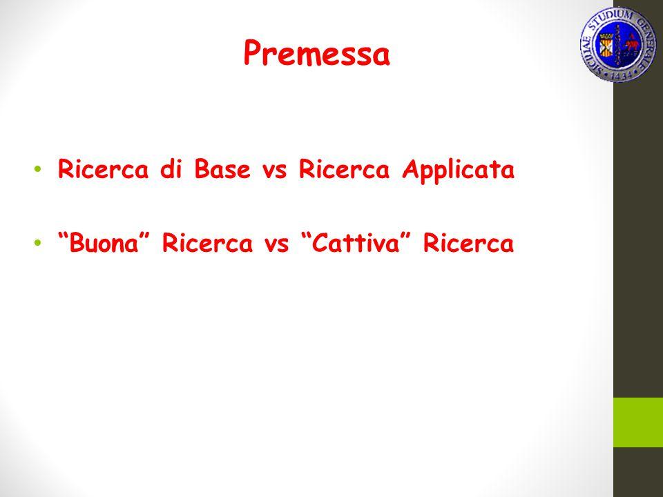 "Premessa Ricerca di Base vs Ricerca Applicata ""Buona"" Ricerca vs ""Cattiva"" Ricerca"
