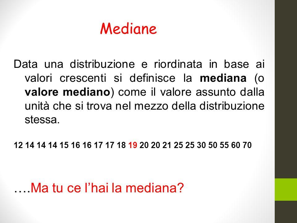 Mediane Data una distribuzione e riordinata in base ai valori crescenti si definisce la mediana (o valore mediano) come il valore assunto dalla unità che si trova nel mezzo della distribuzione stessa.