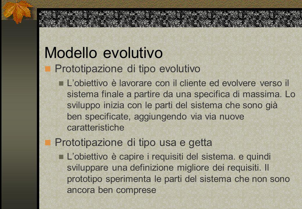 Prototipazione di tipo evolutivo L'obiettivo è lavorare con il cliente ed evolvere verso il sistema finale a partire da una specifica di massima. Lo s