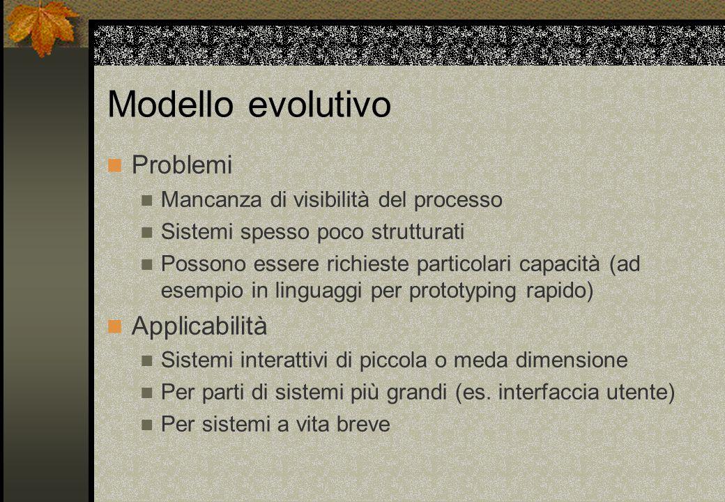 Modello evolutivo Problemi Mancanza di visibilità del processo Sistemi spesso poco strutturati Possono essere richieste particolari capacità (ad esemp