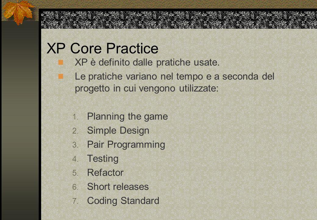 XP Core Practice XP è definito dalle pratiche usate. Le pratiche variano nel tempo e a seconda del progetto in cui vengono utilizzate: 1. Planning the