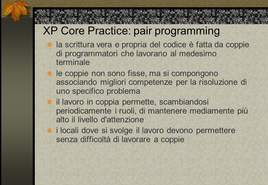 XP Core Practice: pair programming la scrittura vera e propria del codice è fatta da coppie di programmatori che lavorano al medesimo terminale le cop
