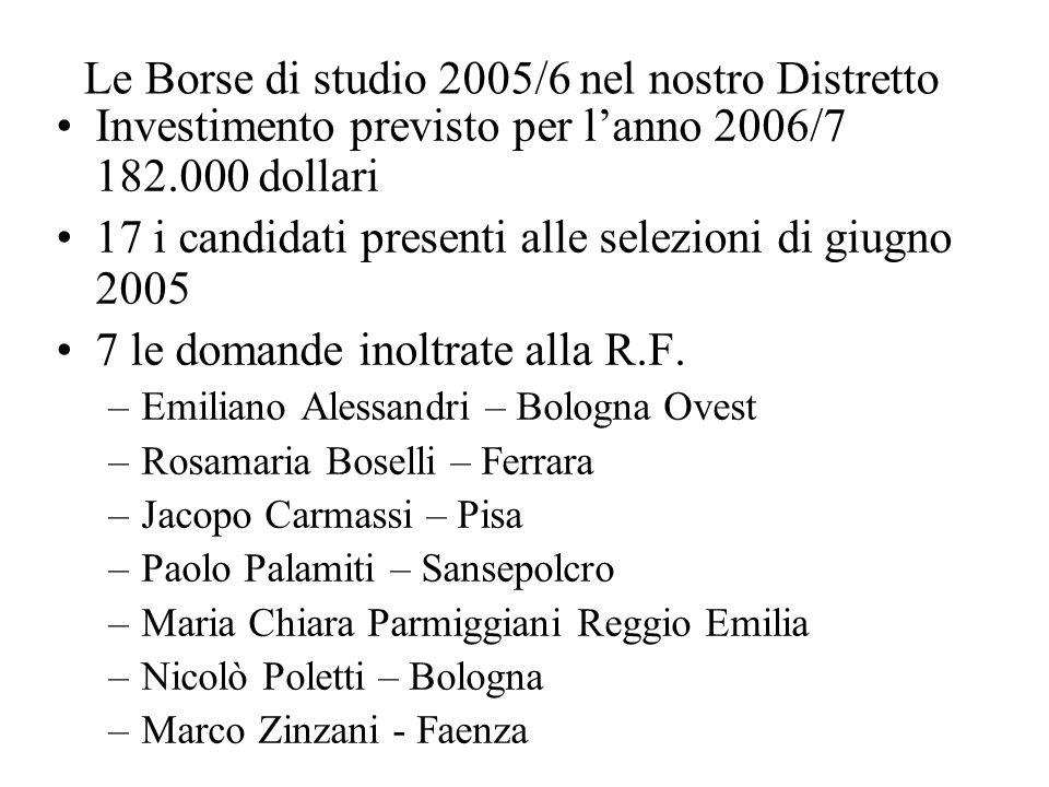 Le Borse di studio 2005/6 nel nostro Distretto Investimento previsto per l'anno 2006/7 182.000 dollari 17 i candidati presenti alle selezioni di giugno 2005 7 le domande inoltrate alla R.F.