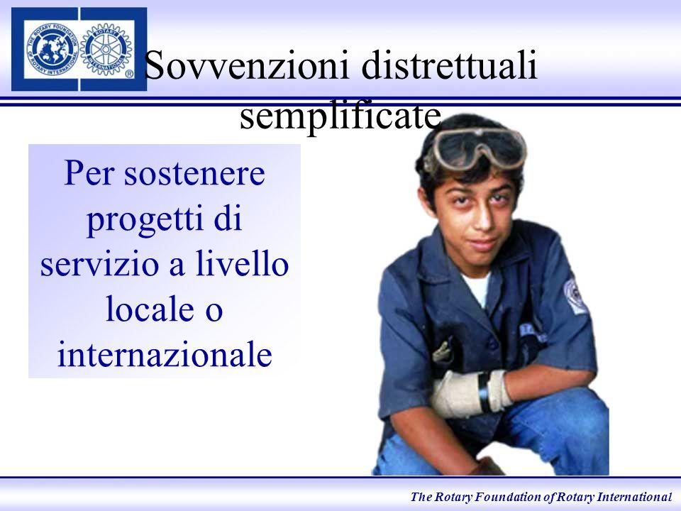 Sovvenzioni distrettuali semplificate Per sostenere progetti di servizio a livello locale o internazionale The Rotary Foundation of Rotary International