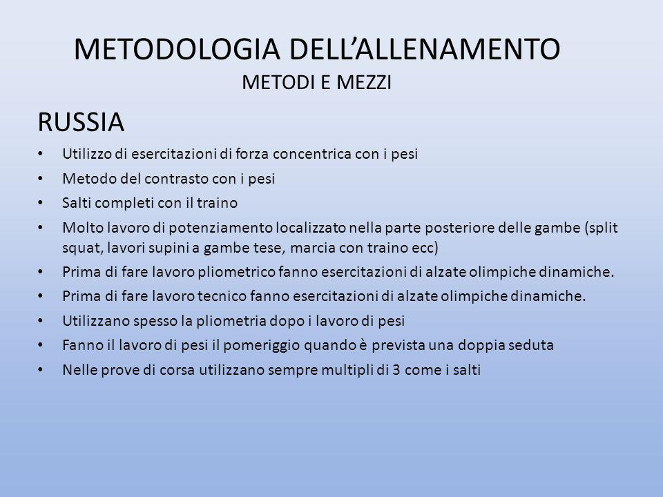 METODOLOGIA DELL'ALLENAMENTO METODI E MEZZI RUSSIA Utilizzo di esercitazioni di forza concentrica con i pesi Metodo del contrasto con i pesi Salti com