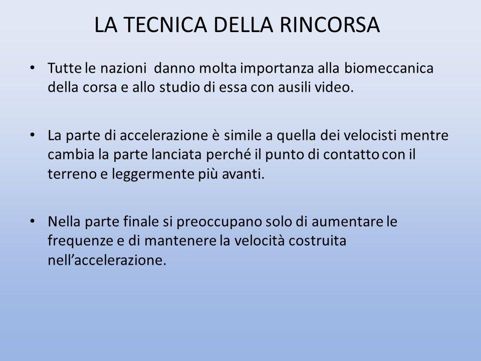 LA TECNICA DELLA RINCORSA Tutte le nazioni danno molta importanza alla biomeccanica della corsa e allo studio di essa con ausili video. La parte di ac