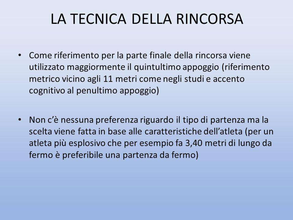 LA TECNICA DELLA RINCORSA Come riferimento per la parte finale della rincorsa viene utilizzato maggiormente il quintultimo appoggio (riferimento metri