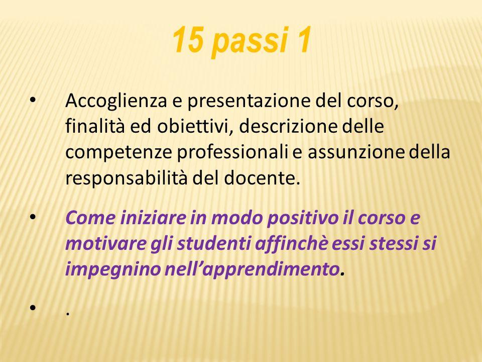 15 passi 1 Accoglienza e presentazione del corso, finalità ed obiettivi, descrizione delle competenze professionali e assunzione della responsabilità del docente.