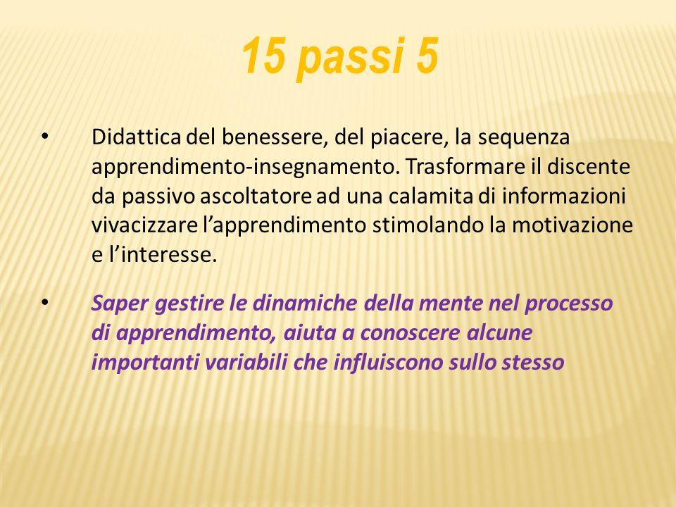 15 passi 5 Didattica del benessere, del piacere, la sequenza apprendimento-insegnamento.