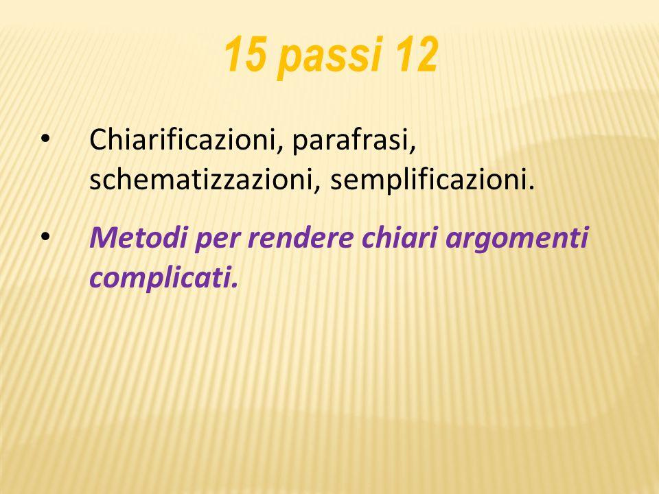 15 passi 12 Chiarificazioni, parafrasi, schematizzazioni, semplificazioni.