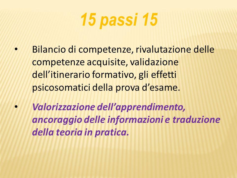 15 passi 15 Bilancio di competenze, rivalutazione delle competenze acquisite, validazione dell'itinerario formativo, gli effetti psicosomatici della prova d'esame.