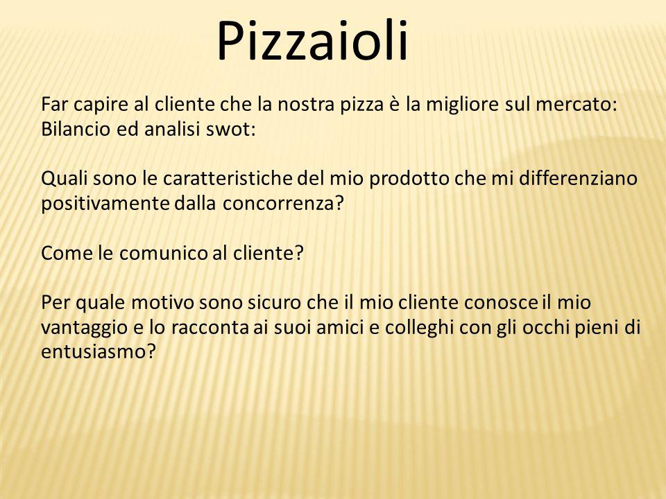 Pizzaioli Far capire al cliente che la nostra pizza è la migliore sul mercato: Bilancio ed analisi swot: Quali sono le caratteristiche del mio prodotto che mi differenziano positivamente dalla concorrenza.