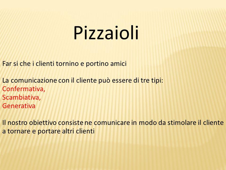 Pizzaioli Far si che i clienti tornino e portino amici La comunicazione con il cliente può essere di tre tipi: Confermativa, Scambiativa, Generativa Il nostro obiettivo consiste ne comunicare in modo da stimolare il cliente a tornare e portare altri clienti