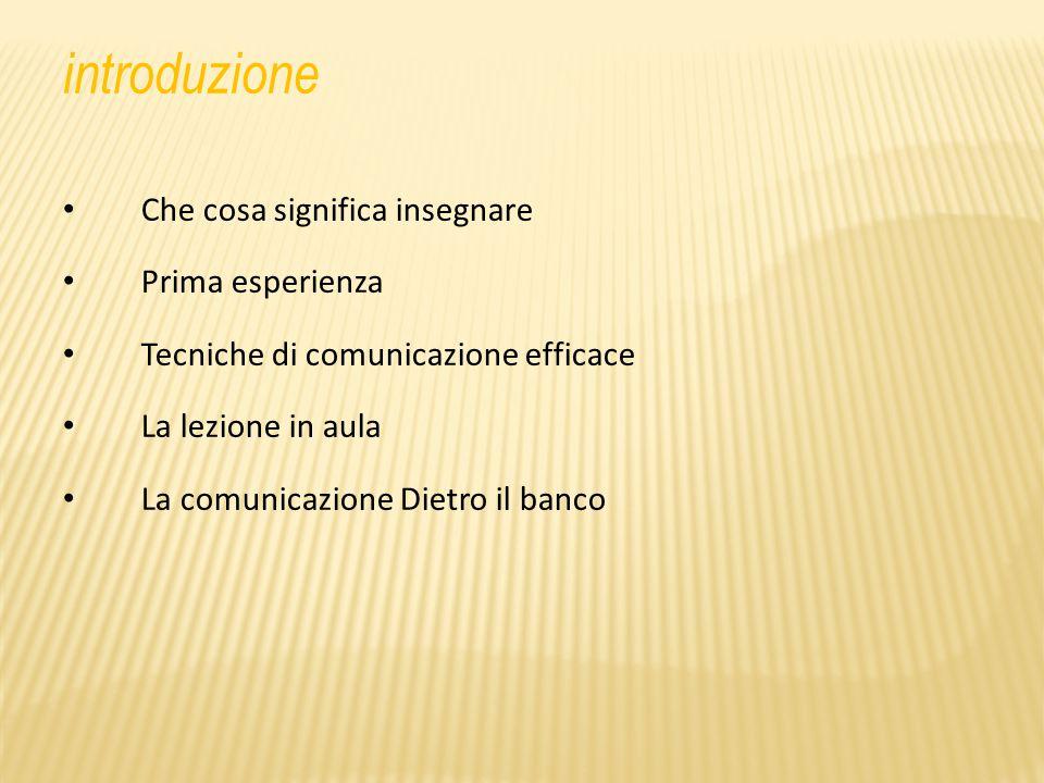 introduzione Che cosa significa insegnare Prima esperienza Tecniche di comunicazione efficace La lezione in aula La comunicazione Dietro il banco
